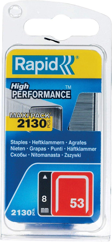 Haute performance Rapid 5000 pi/èces Agrafes en fil fin N/°53 Longueur 12mm 11859610 Pour le textile et la d/écoration Fil galvanis/é