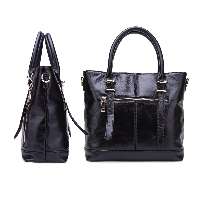 Yafeige Womens Leather Shoulder Handbags Satchel Tote Top Handle Bags Crossbody Handbag Purse for Ladies(Black) by Yafeige (Image #3)
