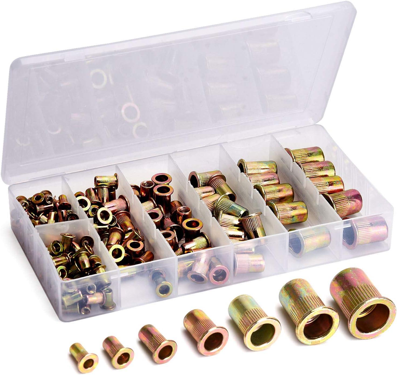 165pcs Zinc Plated Rivet Nut Kit Metric Insert Rivnut Nutsert Assortment M3-M12