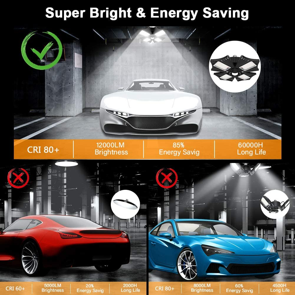 360/° LED Lighting for Garage Warehouse Upgrade 120W Deformable 4 Panels Adjustable 12000LM E26 LED Garage Ceiling Light with Holder NO Motion Activated LED Garage Light Barn Workshop and Yard