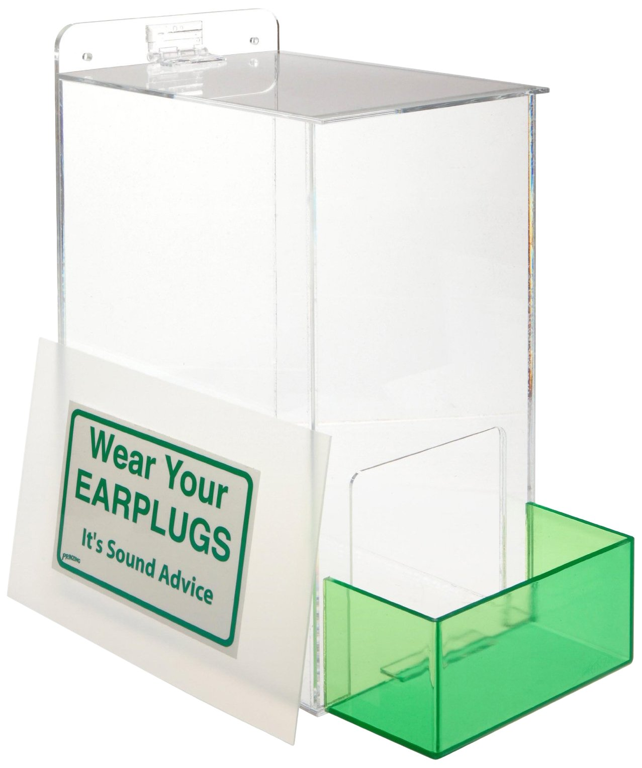 Brady PD439G 13'' Height, 12'' Width, 8'' Depth, Acrylic, Green On Clear Color Large Capacity Ear Plug Dispenser, Legend ''Wear Your Earplugs (With down arrow)'' by Brady