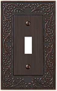 French Garden Single Toggle Switch Wall Plate Outlet Cover, Oil Rubbed Bronze