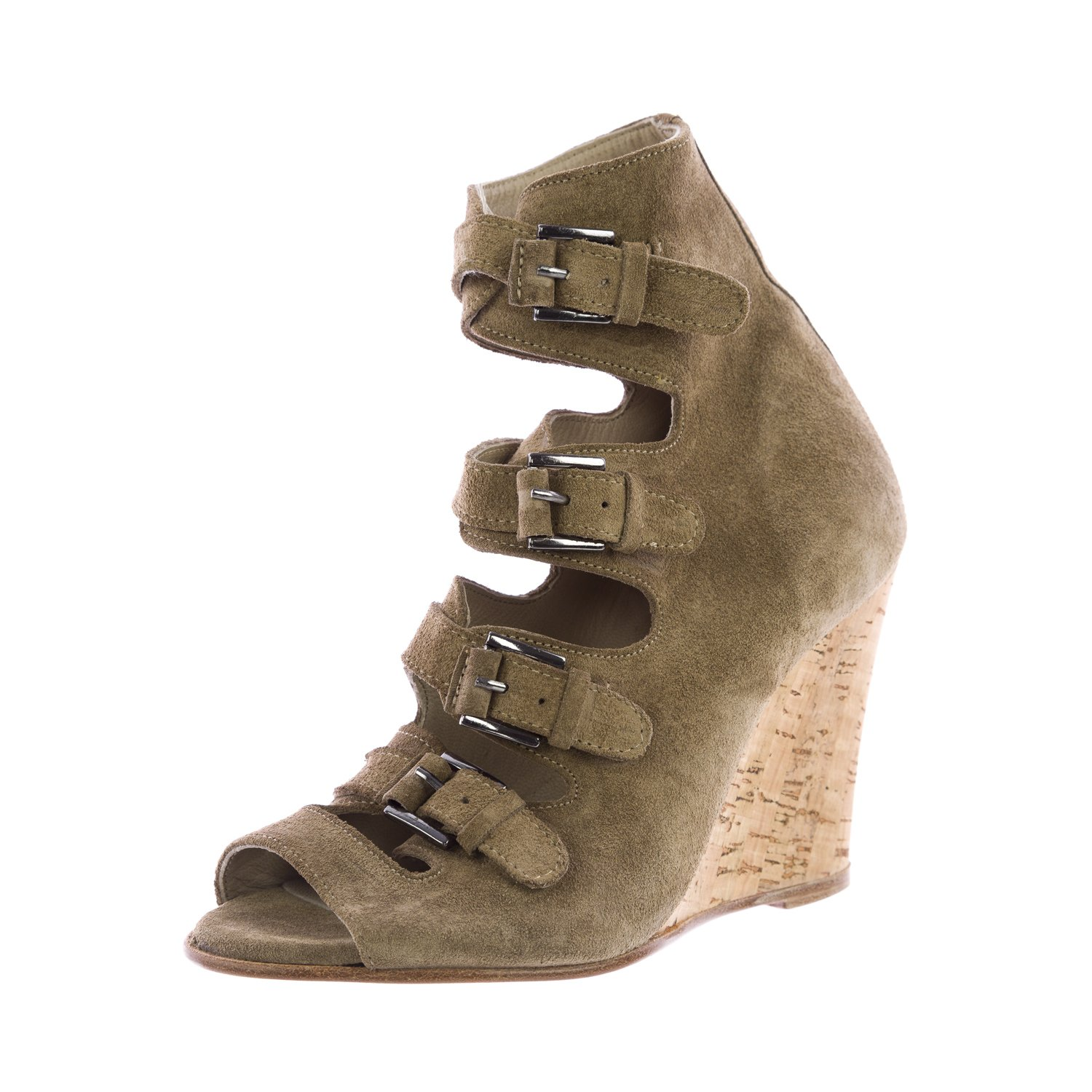 Surface to Air Women's Buckle Liege Suede Wedge Sandal B01FWOKCSS 4.5 M US|Taupe