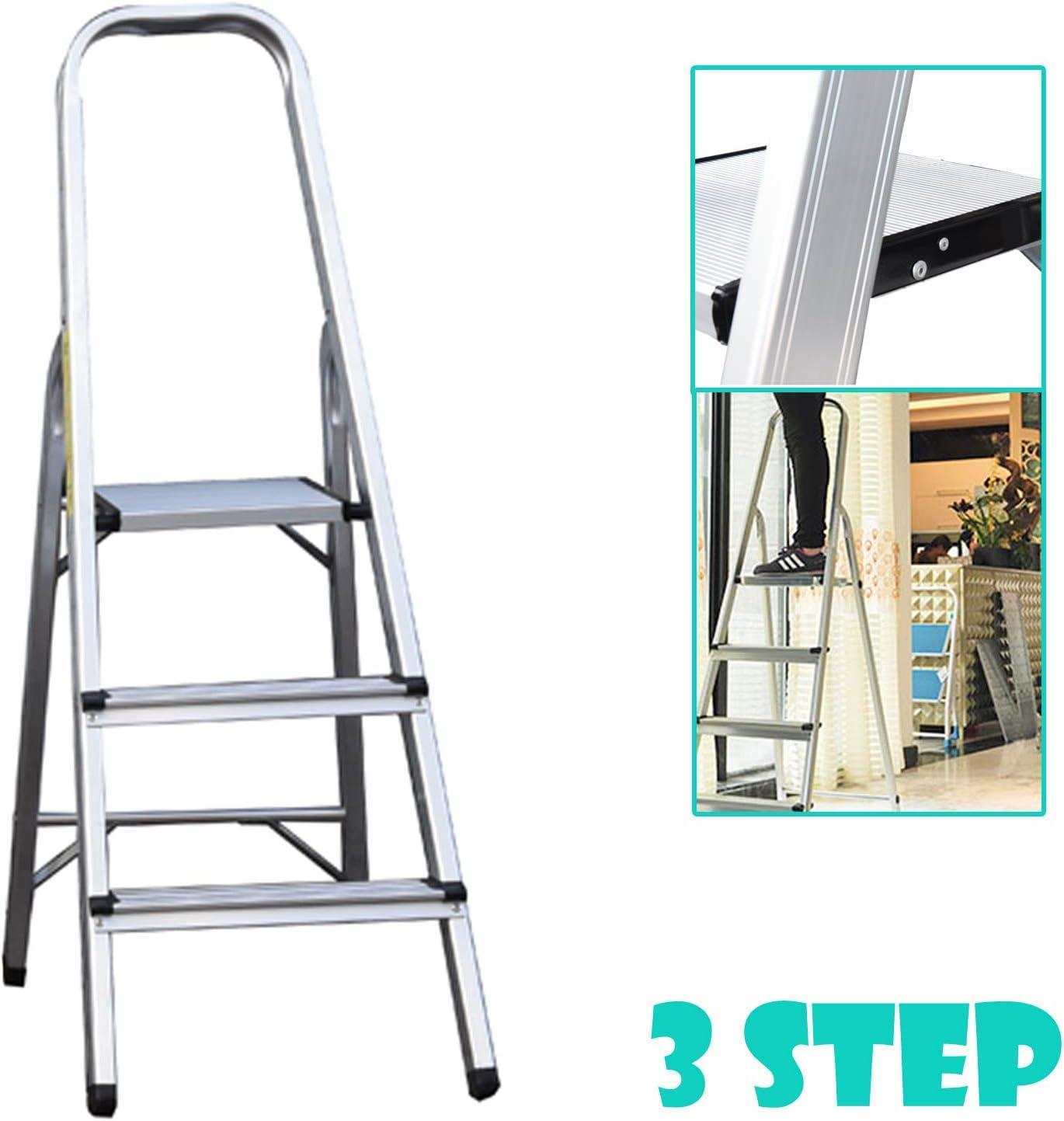 Escalera de aluminio de 3 pasos, ligera, portátil, de seguridad, antideslizante, con peldaños plegables, soporta hasta 150 kg: Amazon.es: Bricolaje y herramientas