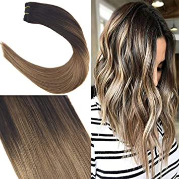 Youngsee 18 Remy Human Hair Bundles Balayage Ombre Color Darkest Brown Fading To Medium Brown