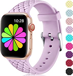 Haveda Sport Compatible for Apple Watch Series 6 40mm 44mm Series 5 4 Band, Soft Cute Silicone Band for Apple Watch SE Womens, Weave Pattern Wristband for iWatch 38mm 42mm Series 3/2/1 Small Large