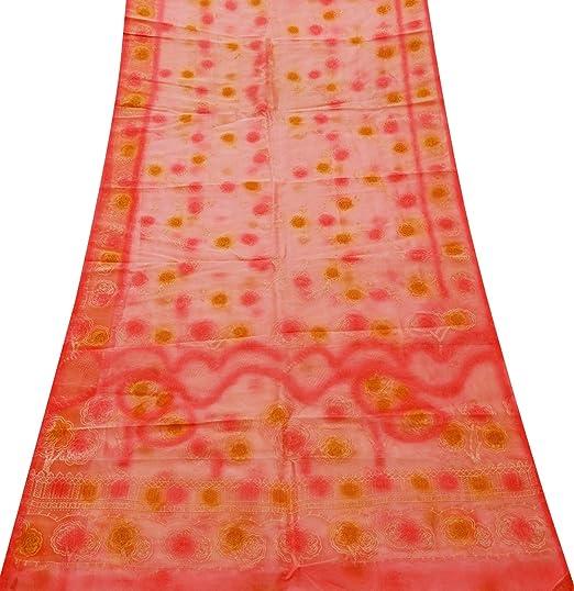 PEEGLI Indio Mujer Sarong Envolver Salmón Vintage Saree Tisú Seda DIY Tela Tradicional Vestir Diseñoer Vestido