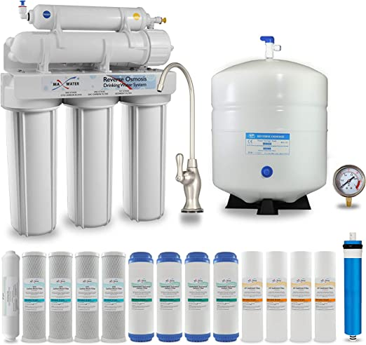 Max Water 5 Stage Home Reverse Osmosis System//Reverse Osmosis Water Filtration System//RO Water Filtration System Under Sink RO Water Purifier Faucet and Tank 50 GPD No Tank and Faucet Included