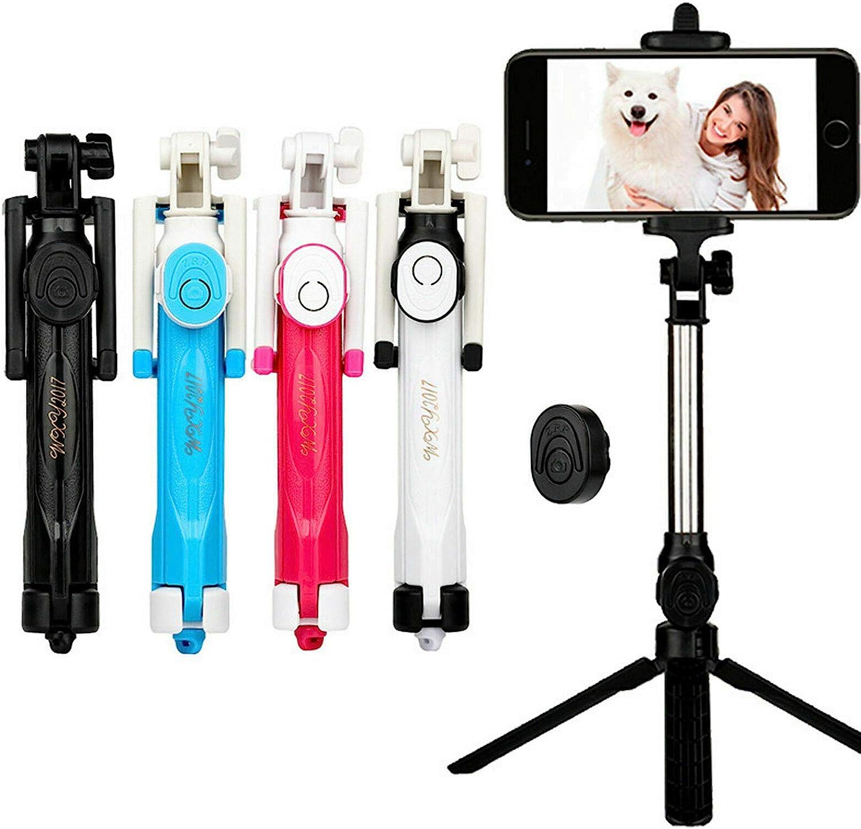 Travel Portable Selfie Stick with Bluetooth Remote Control 360 /° Rotation Black XIAOXIAO 66Cm Desktop Mini Tripod Aluminum Alloy