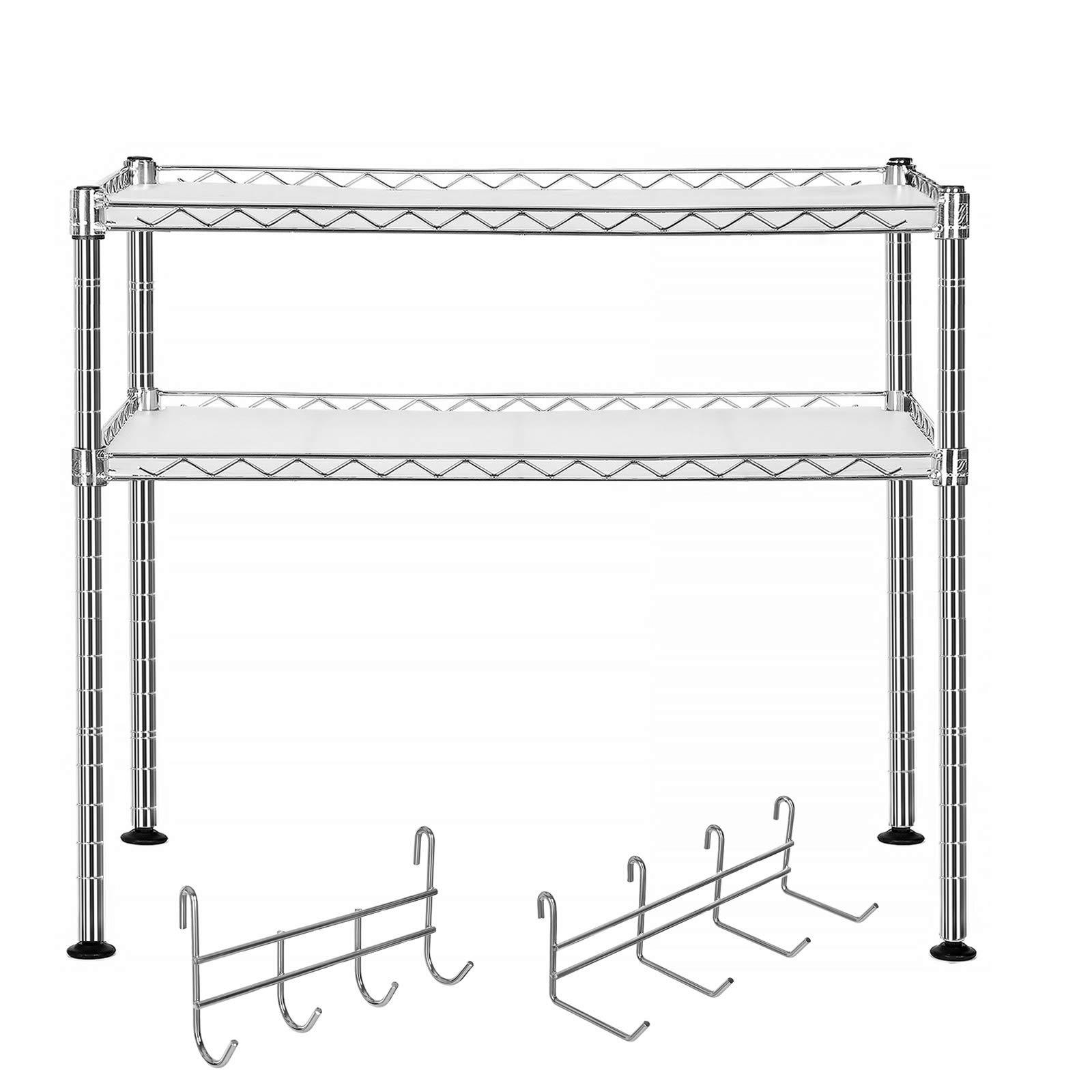 SONGMICS Microwave Oven Rack Organiser Chrome, Stand Shelf with 2 Adjustable Shelves 8 Hooks for Small Kitchen Storage LGR20C