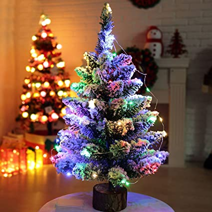 Albero Di Natale 50 Cm.50cm Fibra Ottica Albero Di Natale Artificiale Pino Verde Con Neve