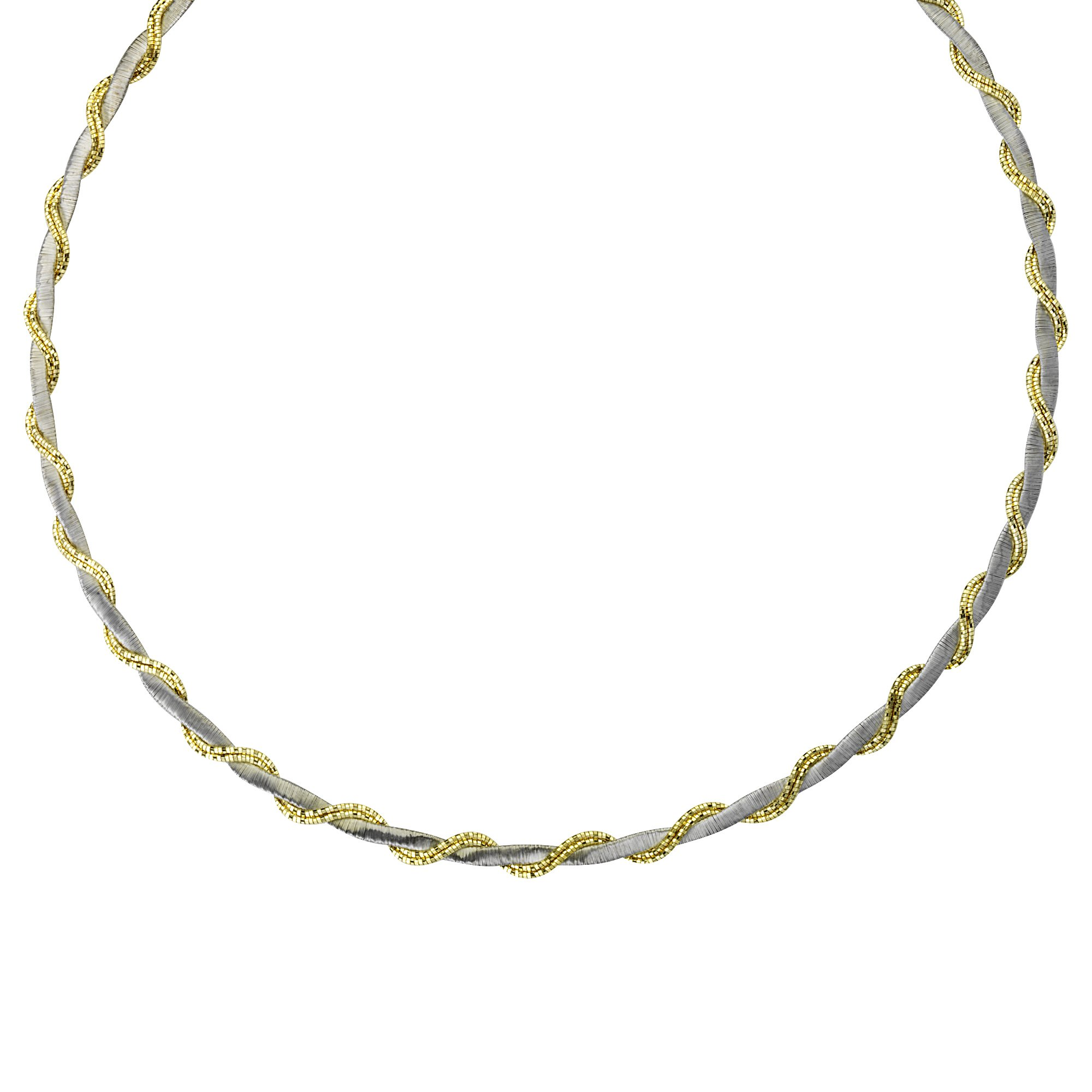 Two Tone Yellow and White Sterling Silver Omega Necklace Braided Vine Style