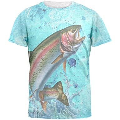 0a4bb39c0d90 Amazon.com: Rainbow Trout Jumping Splash Mens T Shirt: Clothing