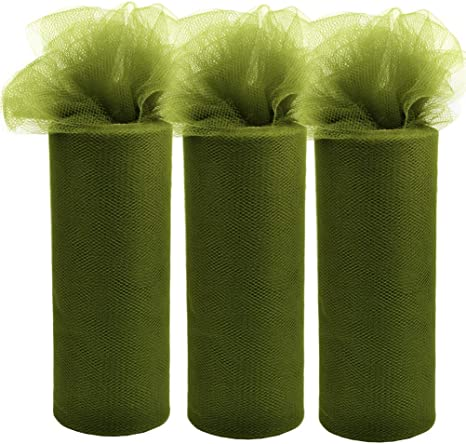 3Pcs Tulle Roll Fabric Spool for Gift Bow Craft Women DIY Tutu Table Skirt Home Decoration Curtain Olive Green, 6-Inch by 25-Yard