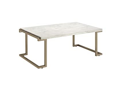 Acme Furniture Acme 82870 Boice II Coffee Table, Faux Marble U0026 Champagne,  One Size