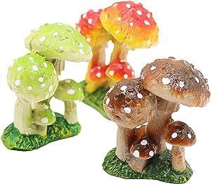 3 Pcs Mushroom Miniature Figurines Mushroom Statue Resin Figurines Fairy Garden Miniature Moss Landscape DIY Terrarium Crafts Ornament Accessories for Home Décor,C