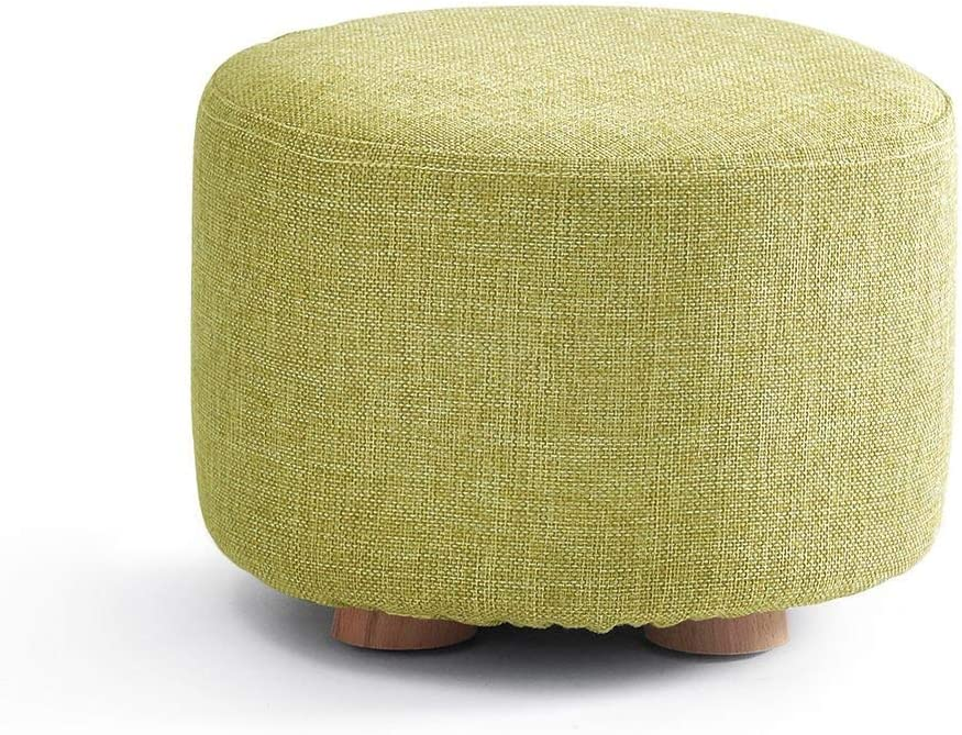 ZHOU YANG Personality, Fashion,Round Feet Stool Solid Wood Change Shoe Bench Foot Rest Ottoman Footstool Upholstered Padded Pouf Footrest Color Green
