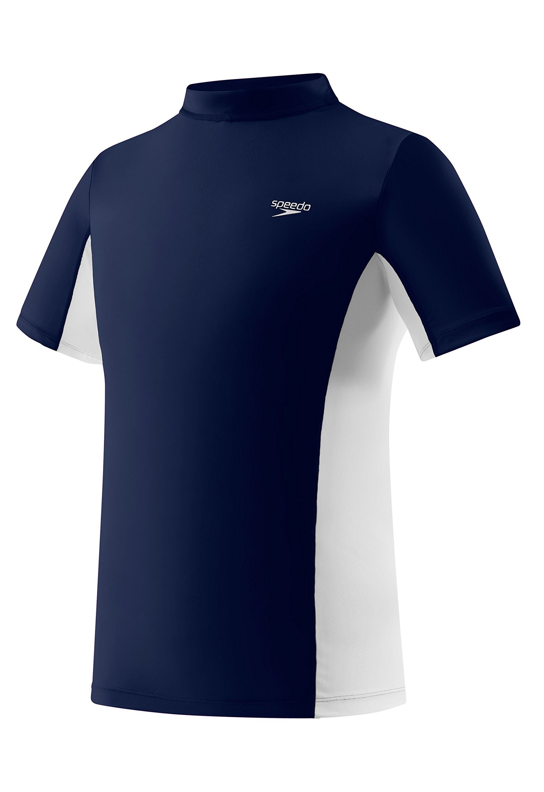 Speedo Big Boys' UV 50 Plus Short Sleeve Rashguard, Deep Water, Medium by Speedo