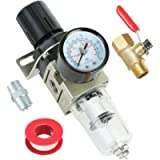 Hromee 1/4 Inch Air Filter Regulator Combo Piggyback, Air Compressor Tool Water Separator with Pressure Gauge, Ball…
