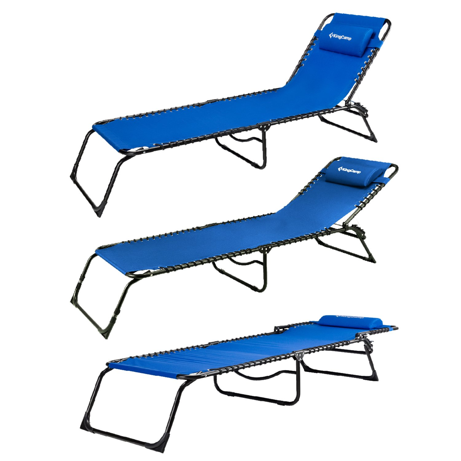 bc2c4f34f62d KingCamp Camping Cot Patio Foldable Chaise Lounge Chair Bed(Blue) -  0747100949067 < Lounge Chairs < Patio, Lawn & Garden - tibs