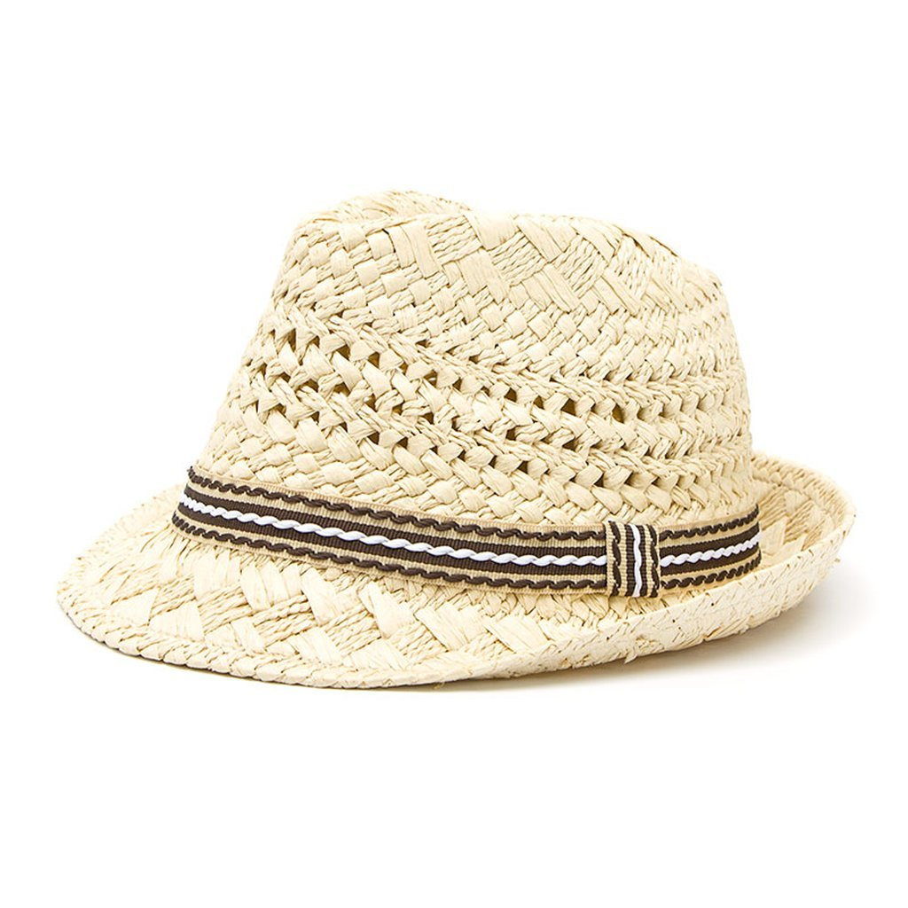 Handwork Women Summer Straw Sun Hat Boho Beach Fedora Trilby Men Panama Jazz Hat by AOBRITON