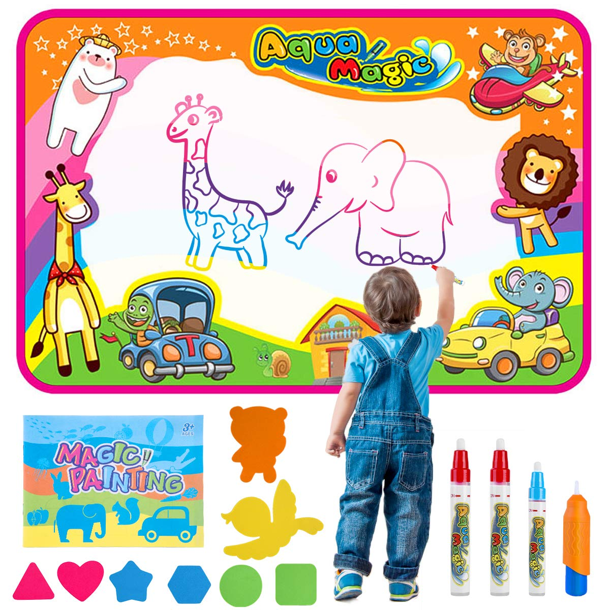 Baby noah aqua magic doodle mat for kids drawing on magic water mat mess free painting for toddler painting board suitable for family kids activity