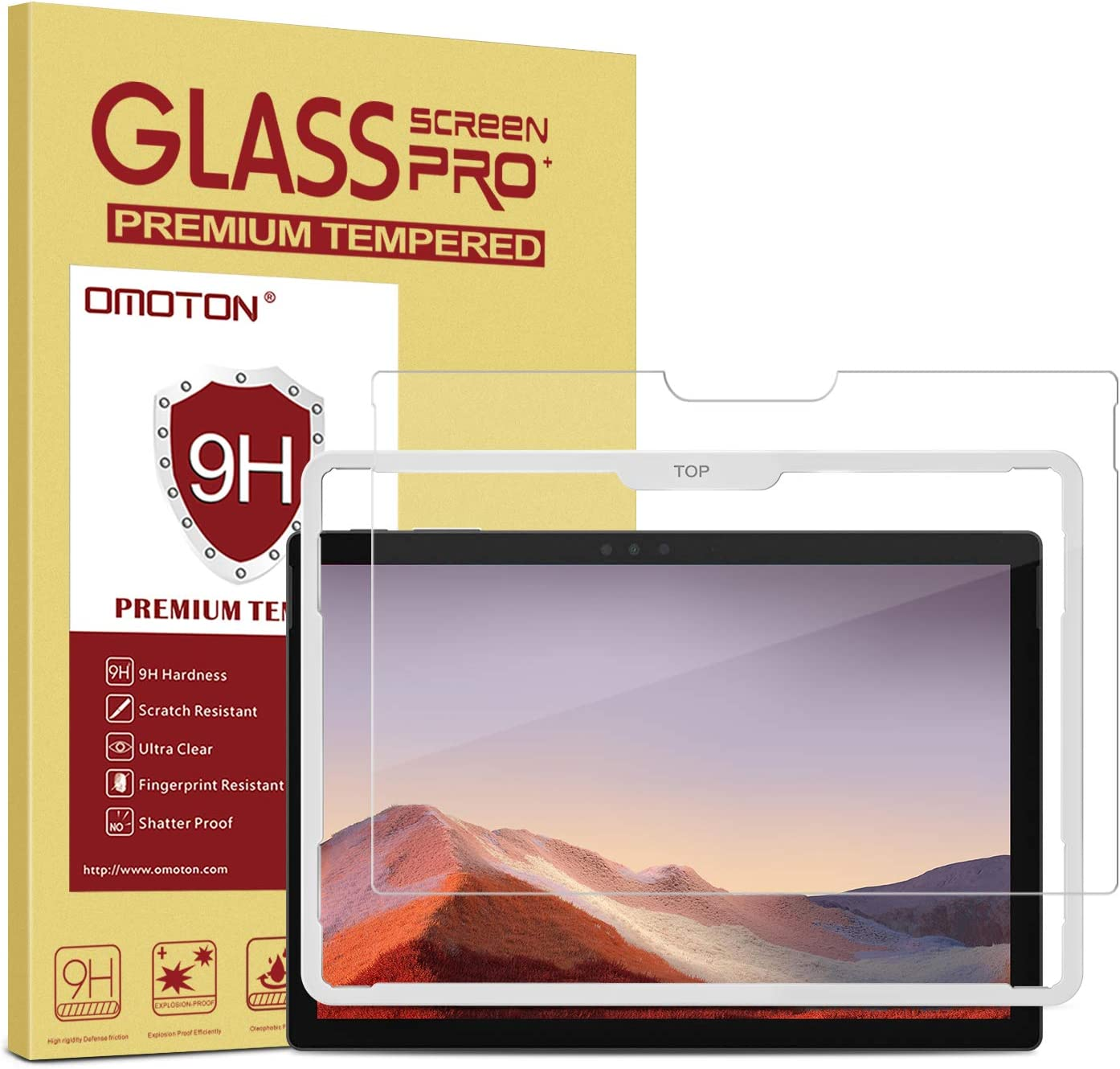OMOTON Screen Protector Compatible with Surface Pro 7 / Surface Pro 6 / Surface Pro (5th Gen) / Surface Pro 4 [12.3 Inch] - [Tempered Glass] [High Responsivity] [Scratch Resistant] [High Definition]