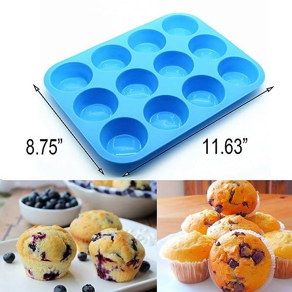 Silicona bandeja para magdalenas 12 tazas, magdalenas antiadherente moldes de cupcakes de galletas lata bandeja de jabón molde de silicona Amison, sin BPA, ...