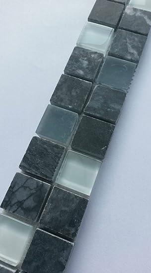 Marmor Glasmosaik Bordure Grau Weiss Mosaik Fliesen Naturstein