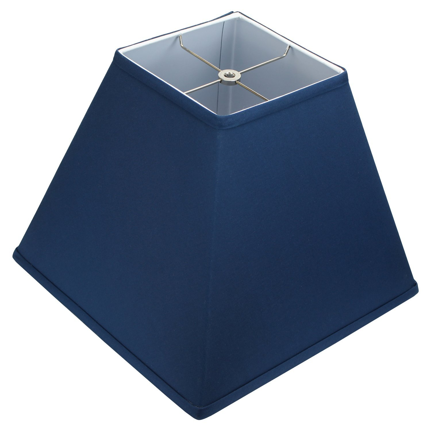 FenchelShades.com 7'' Top Dimension x 14'' Bottom Dimension 12'' Slant Height Fabric Square Lampshade Spider Attachment (Navy Blue)