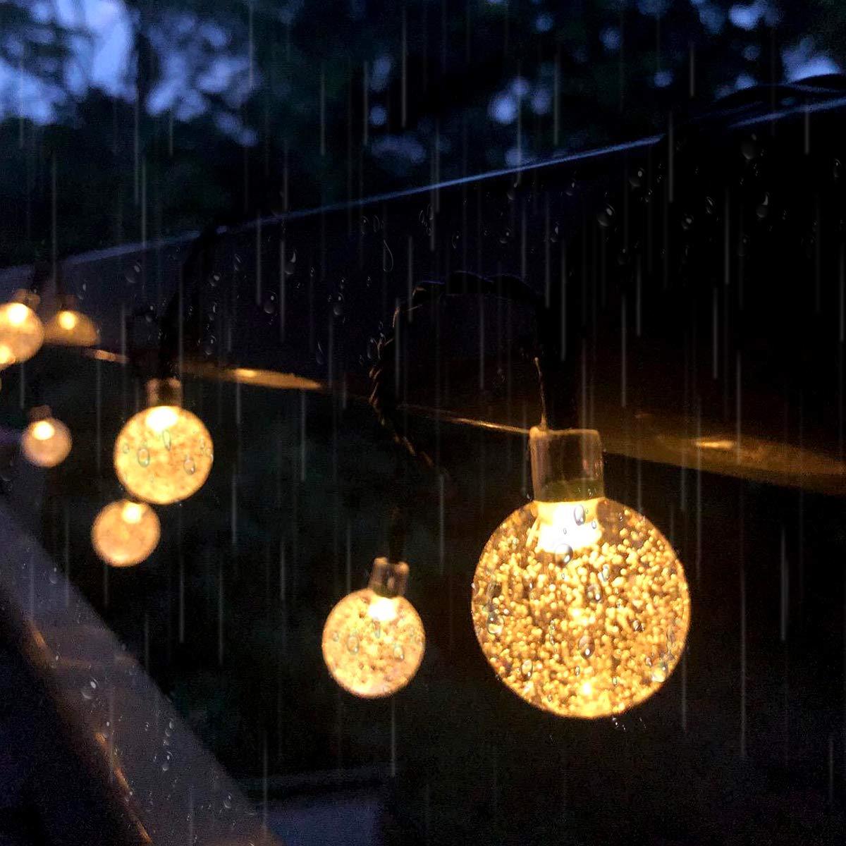 Cortili Pergole Vacanze Qomolo Catena Luminosa Solare 7 Meter 50 LED Luce Stringa Solare di Crystal Globe Impermeabile IP65 Luce Esterno Ideale per Decorazioni di Feste