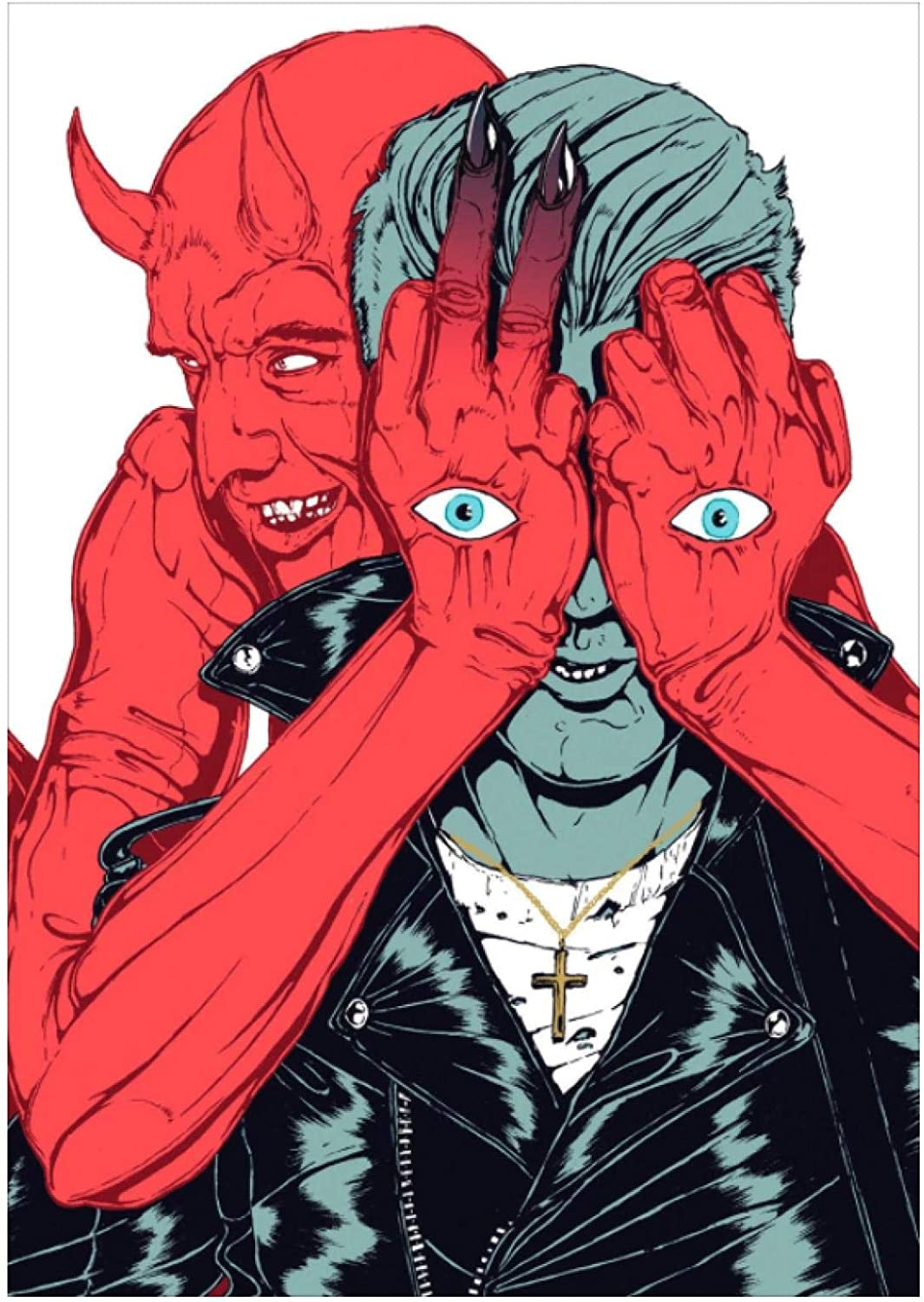DrCor Queens of The Stone Age Qotsa Villains Poster Art Canvas Painting Sala de Estar Dormitorio Decoración del hogar -20x28 Pulgadas Sin Marco 1 PCS