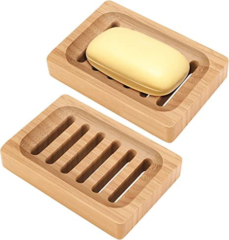Bamboo Soap Dish Revo 2 Pack Rustic Bar Soap Holder For Bathroom Sink Shower Kitchen Natural Wooden Tray For Soap Sponges Home Kitchen