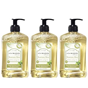 A La Maison de Provence Liquid Hand Soap | Rosemary Mint Scent | French Milled Moisturizing Natural Hand Soap | in 16.9 oz. Pump Bottles | (3 Pack)
