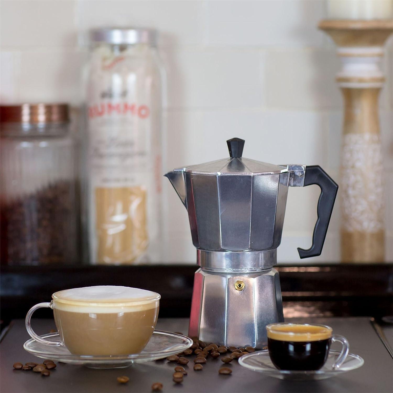 9,1 oz 260 ML Argon Tableware Tasse et Soucoupe Transparentes en Verre pour Cappuccino//th/é//caf/é - x2