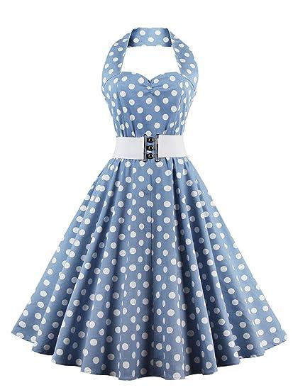 VKStar®Abito retrò Chic Stile Halter Vintage 1950 Audrey Hepburn Vestito da  Cocktail Femminile Rockabilly Swing Abito Classico Anni 50  Amazon.it  ... 7225dfd0a37