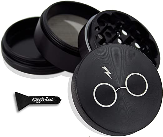 Harry's Potter Herb Grinder - Non Stick Multi Hole Design - 4 Piece Grinder For Herb & Spice With BONUS Scraper Tool - Potter Gifts - 2.2 Inches