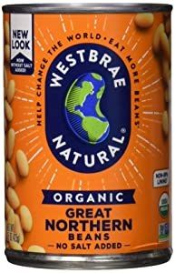 Westbrae Natural Organic Great Northern Beans, No Salt Added, 15 Oz (Pack of 12)