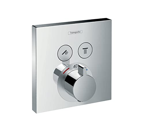 hansgrohe ShowerSelect thermostatic mixer for 2 outlets, chrome ...