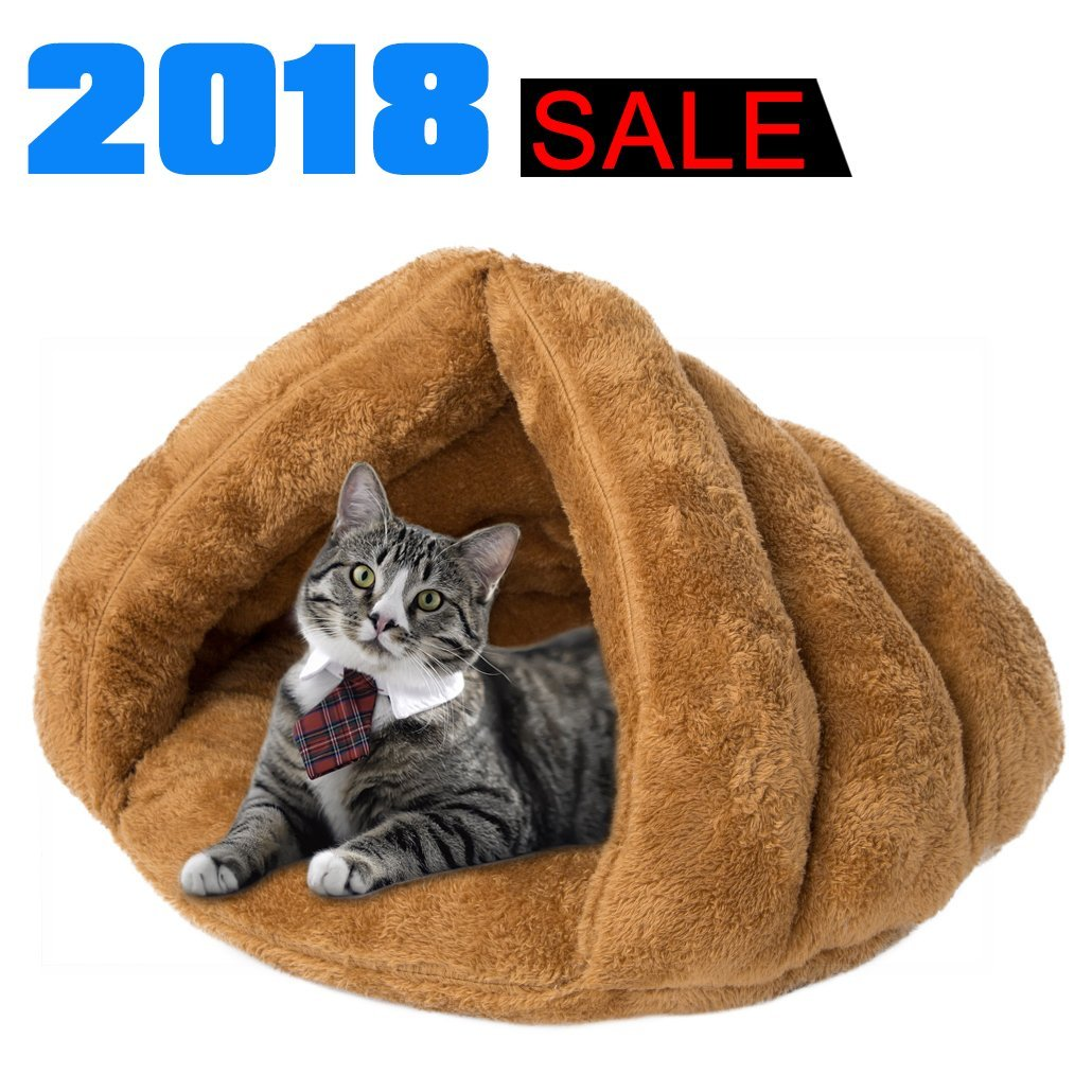iphonepassteCK Plush Cat Bed Soft Pet Bed for Winter Cozy Sleeping Bag for Dogs Warm Puppy Bed Small Animals Cat Cave (Camel)