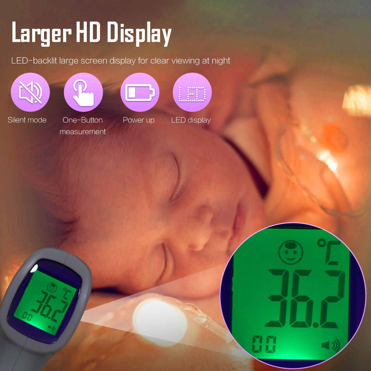 UK Stock Mbuynow Non-Contact Infrared Thermometer Digital Forehead Thermometer Instant Reading with Fever Alarm for Baby Adults