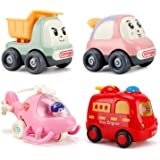NASHRIO Pull Back Cars Toys for 1 2 3 Years Old Baby and Toddlers, 4 Pack Kids Early Educational Vehicles - Boys and…