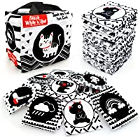 Black White Soft Flash Cards with Cloth Storage Bag for Baby and Infant, High Contrast Newborn Baby Toys for 0 3 6 9 12…