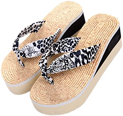 Women Girls Fashion Sexy Leopard Thongs Comfortable Casual Wedges Sandals Beach Flip Flops Slippers
