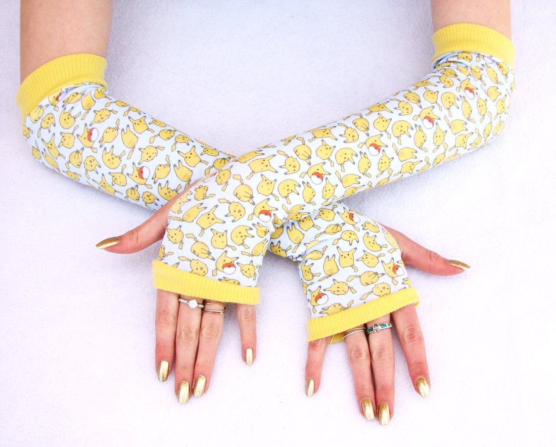 Pikachu Fan Arm Warmers Fingerless Gloves