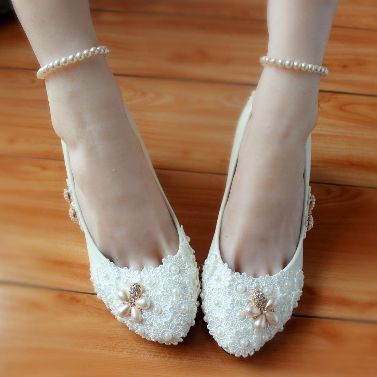 Blanc UK7 JINGXINSTORE Chaussures de mariée en dentelle or blanc rouge perle à la main à talons hauts