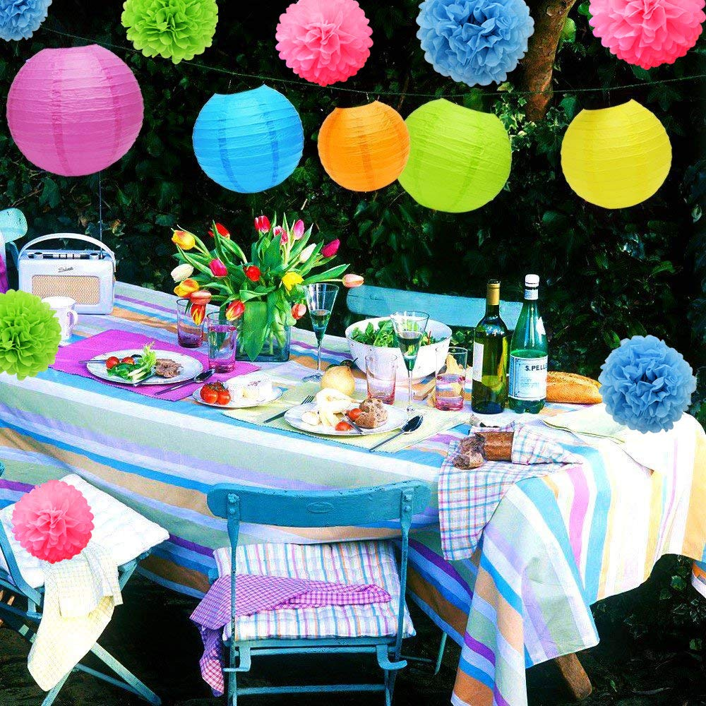 Colorful Libershine Party Decoration 21 Pcs Paper Lanterns Tissue Paper Pom Poms Flower for Birthday Party Wedding Festival Christmas Decorations