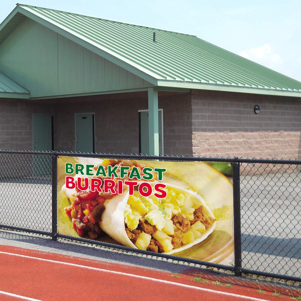 Vinyl Banner Sign Breakfast Burritos #2 Lifestyles Marketing Advertising Yellow Multiple Sizes Available One Banner 8 Grommets 48inx96in