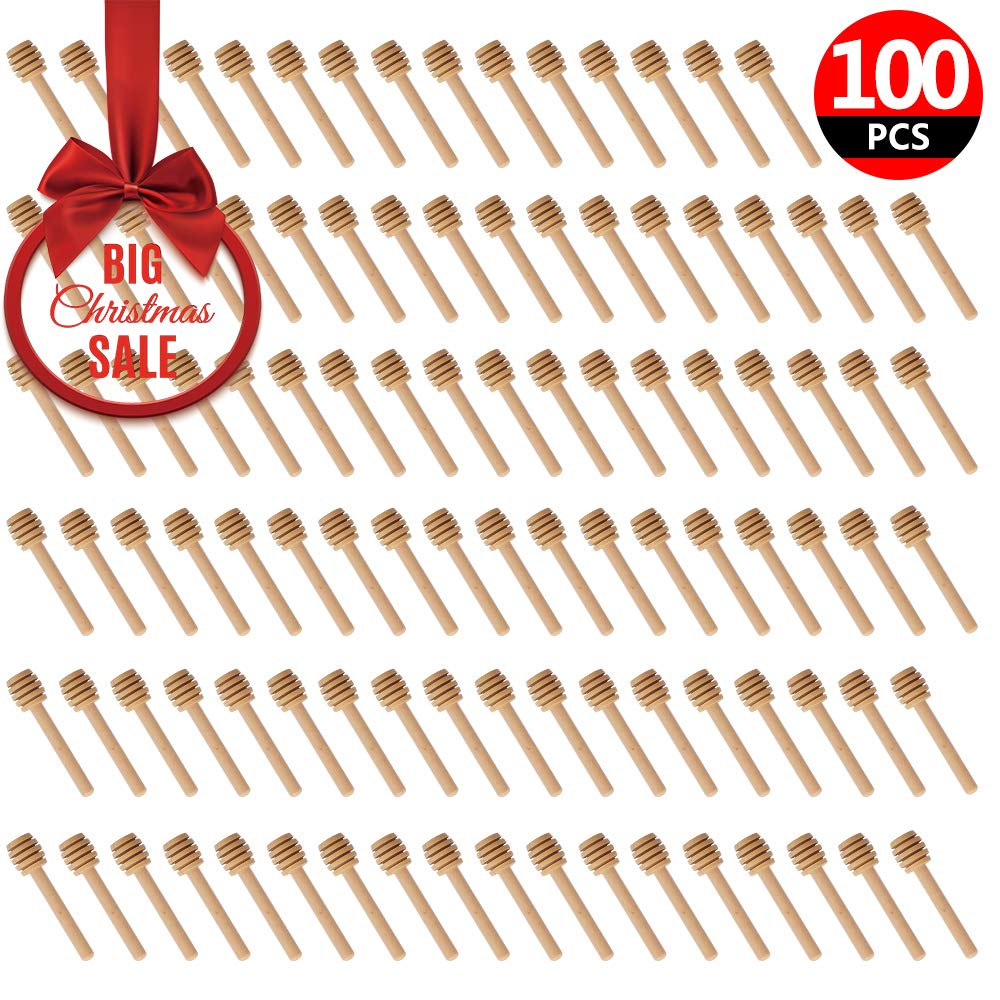 100 Pack of Mini 3 Inch Wood Honey Dipper Sticks, Individually Wrapped, Server for Honey Jar Dispense Drizzle Honey, Wedding Party Favors by Woaiwo-q