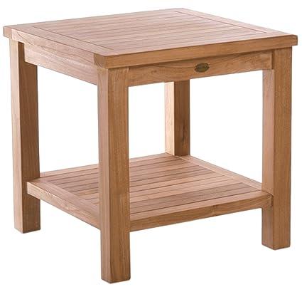 Side Table Teak.Amazon Com Chic Teak Teak Tundra Outdoor Side Table With Shelf
